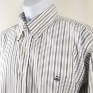 Brooks Brothers Mens Gray Stripe Long Sleeve Shirt